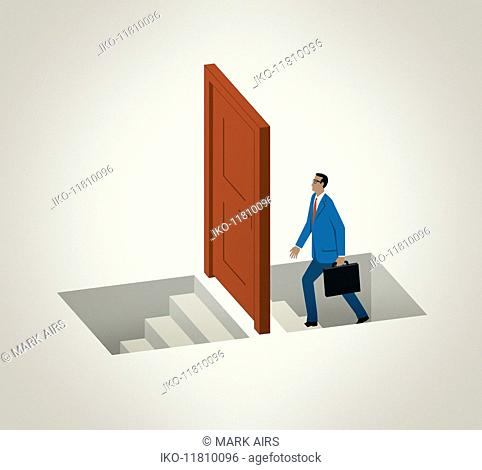 Businessman climbing stairs approaching door to descending stairs