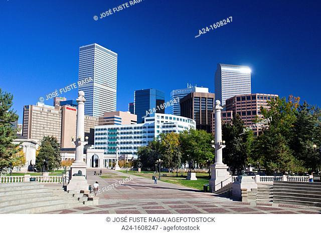 Civic Center Park and downtown skyline, Denver, Colorado, USA