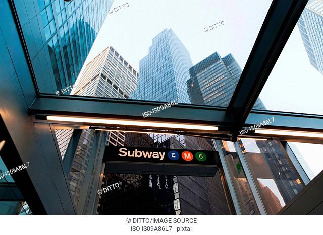 Skyscrapers and subway entrance, New York City, USA