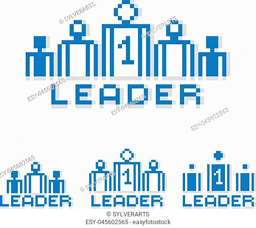 Vector pixel icon isolated, 8bit graphic element. Leader concept, number one between a team of managers. Simplistic digital sign created in business theme