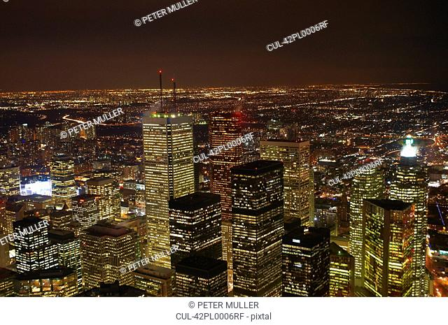 Aerial view of Toronto lit up at night