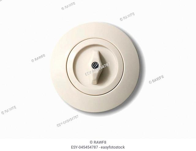 Switch old-fashioned, round with button, from porcelain isolated on white background. Close up, details