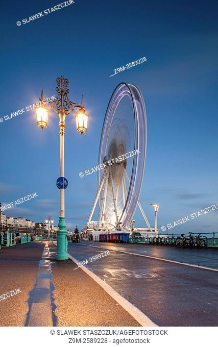 Winter evening at Brighton Wheel. Brighton, East Sussex, England