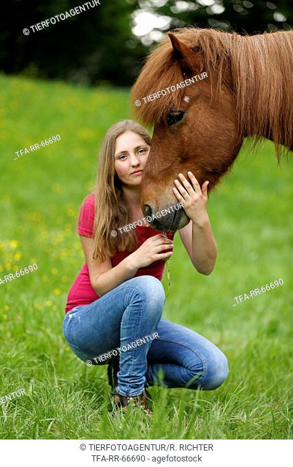 woman and Icelandic horse