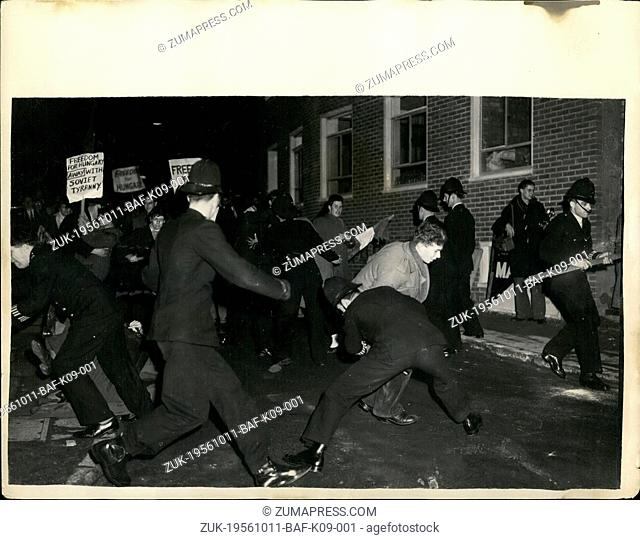 Oct. 11, 1956 - 10-11-56 Students demonstrates outside the Daily Worker Offices in London ?¢'Ǩ'Äú Police were called to the offices of the Daily Worker last...