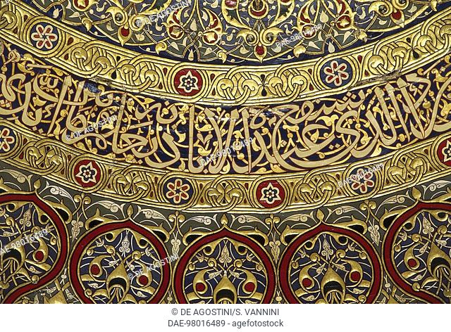 Decorations on the inside of the dome, Dome of the Rock, or Masjid Al-Qubba (7th-16th century), Old City of Jerusalem (Unesco World Heritage List, 1981), Israel