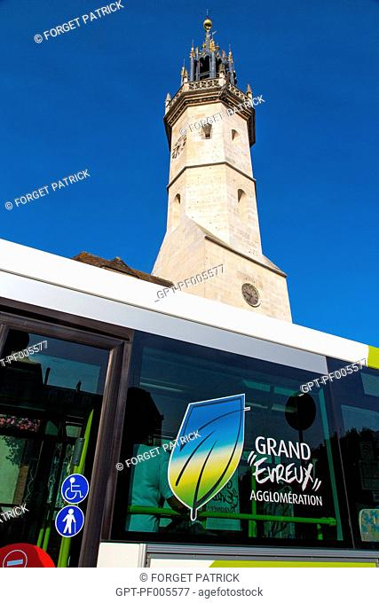 MUNICIPAL BUS OF EVREUX IN FRONT OF THE CLOCK TOWER'S BELFRY, EVREUX,(27), FRANCE