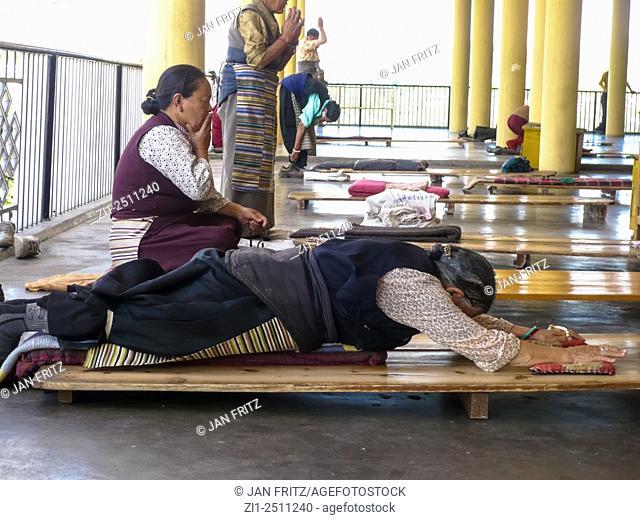 praying nuns at monastery in dharamsala, india