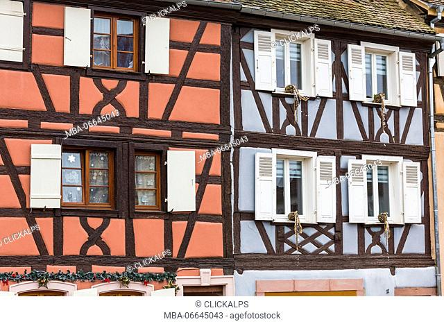 Typical architecture and colored facade of house in the old town Petite Venise Colmar Haut-Rhin department Alsace France Europe