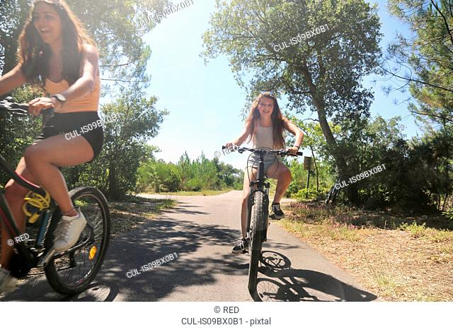 Teenagers cycling on countryside road, Aquitaine, France