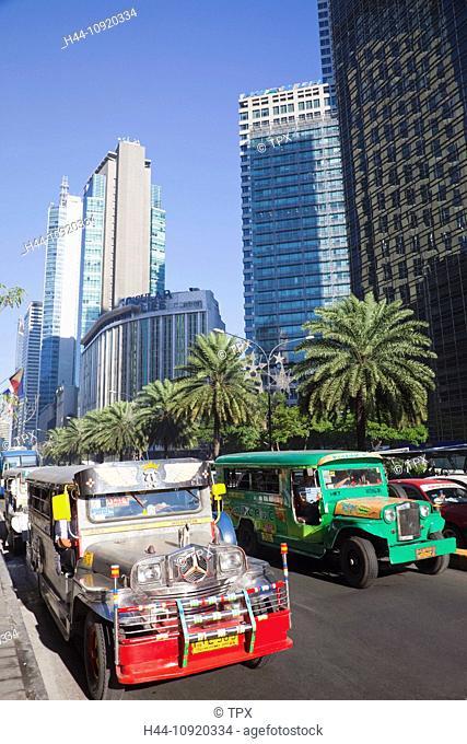 Asia, Philippines, Manila, Makati, Ayala Avenue, Ayala, Jeepneys, Transport, Public Transport, Traffic, Holiday, Vacation, Tourism, Travel