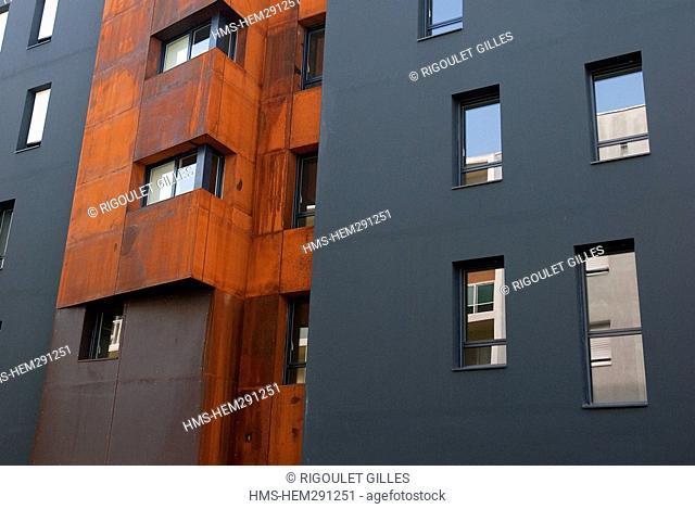 France, Loire Atlantique, Nantes, Contemporary building Rue Emile Pehant