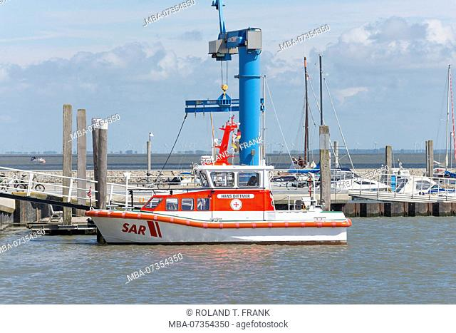 Germany, Lower Saxony, East Frisia, Juist, Lifeboat in the harbor