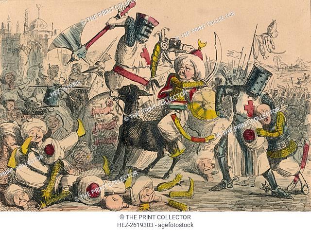 Terrific combat between Richard Coeur de Lion and Saladin, 1850. Artist: John Leech