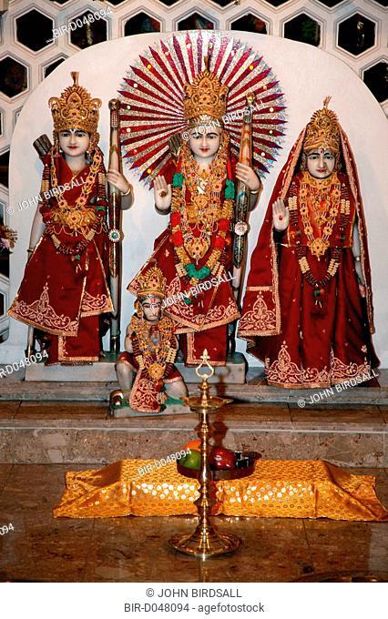 Shrine at Hindu temple during Diwali