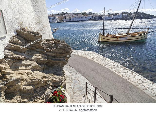 Street view, maritime promenade, sea and boat, mediterranean village, Cadaques,Costa Brava,province Girona, Catalonia
