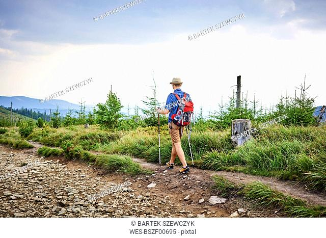 Rear view of man hiking in the mountains