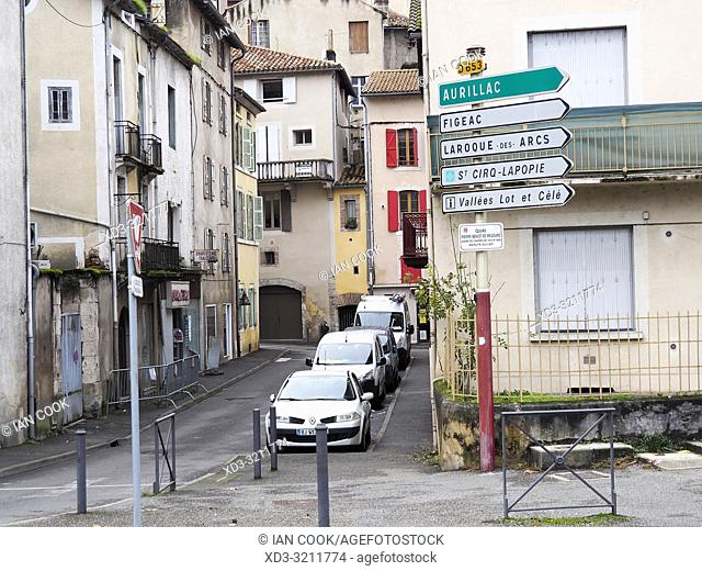 road signs, Cahors, Lot Department, Occitainie, France