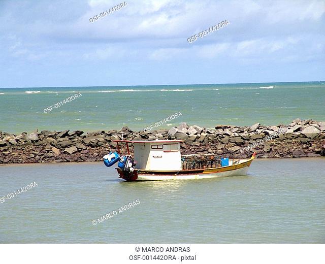 pernambuco one boat sailing in the sea