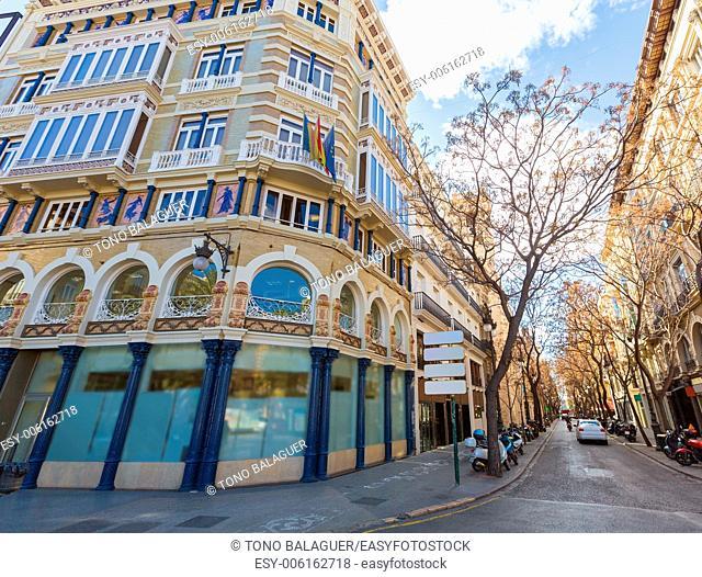 Valencia calle la Paz and San vicente street corner at Spain