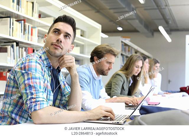 Students in the library, University of the Basque Country, Donostia, Gipuzkoa, Spain