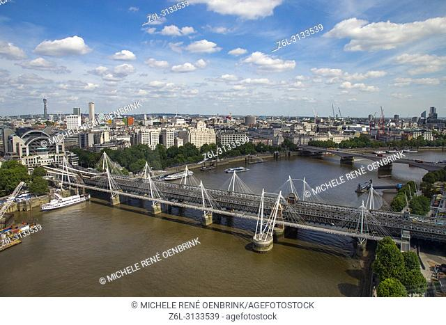 Aerial View of construction of the city of London England from the London Eye