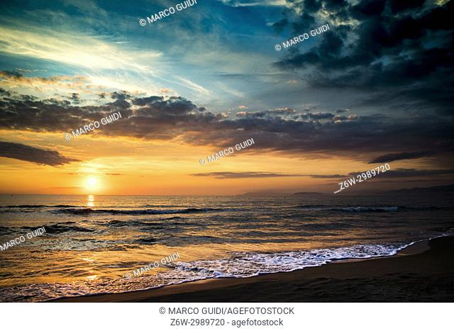 Typical landscape by the sea in the sunset time