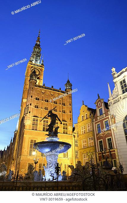 Neptune Fountain and the 14th century Town Hall in Gdansk, Poland