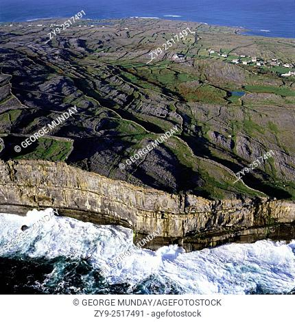 Wild Seas and Cliffs,. Inishmore Island, The Aran Islands,. Off County Galway, Ireland