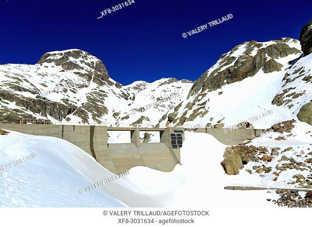 Dam, Lac de la Fous, Vallee de la Gordolasque, Alpes-Maritimes, 06, Mercantour, PACA, France