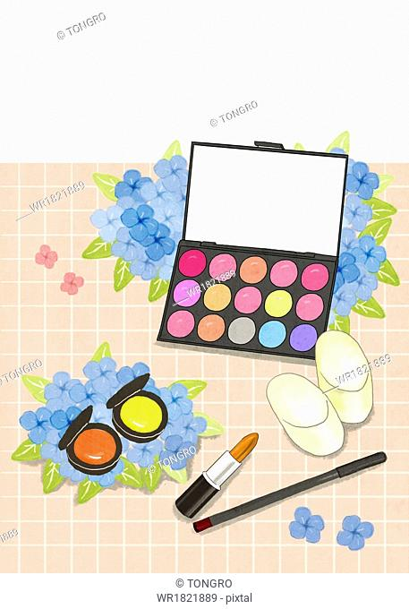 a template with women's make up