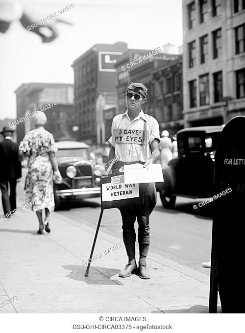 Blind World War I Veteran Selling Newspapers on Sidewalk, Washington DC, USA, 1933