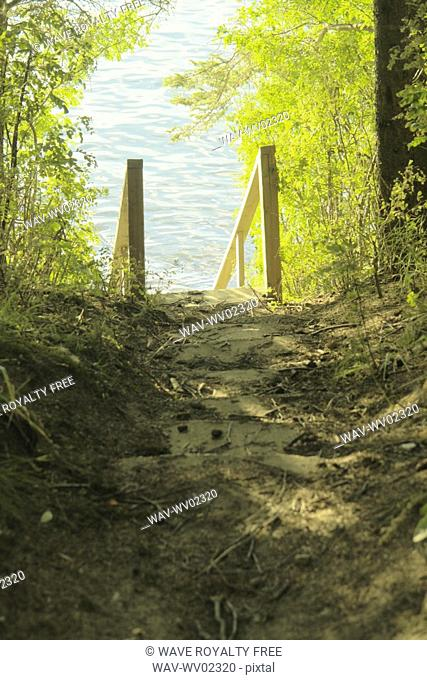 Steps down to Clear Lake, Canada, Manitoba, Riding Mountain National Park