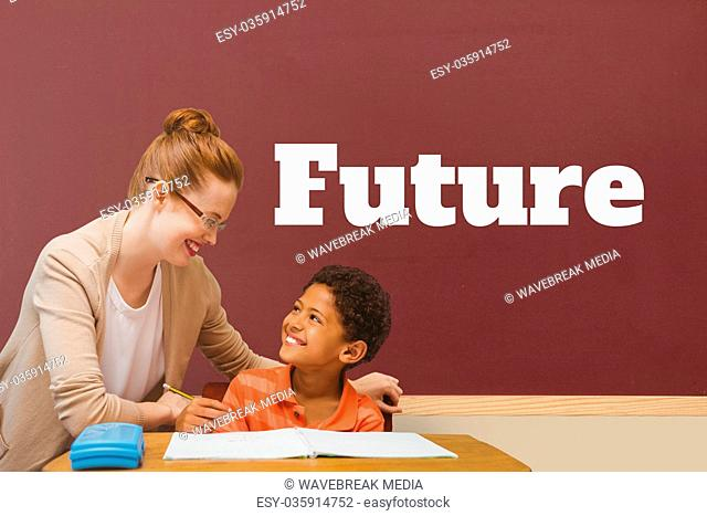 Student boy and teacher at table against red blackboard with future text