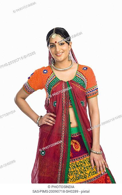 Beautiful woman smiling in lehenga choli
