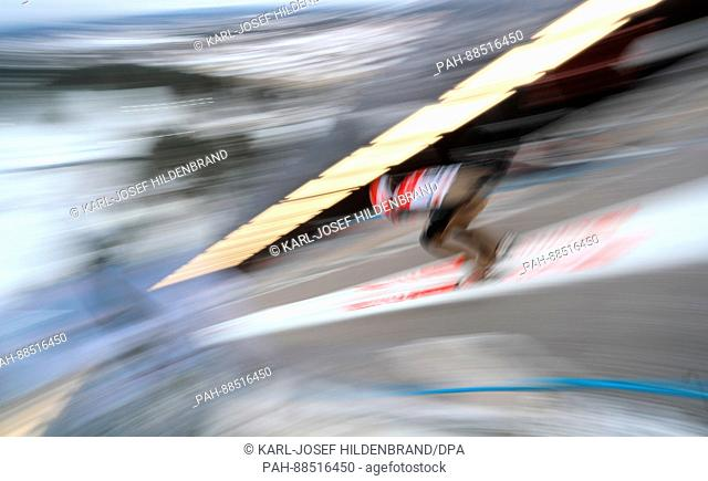 Karl Geiger from Germany in action during the training for the men's large hill event at the Nordic Ski World Championship in Lahti, Finland, 27 February 2017