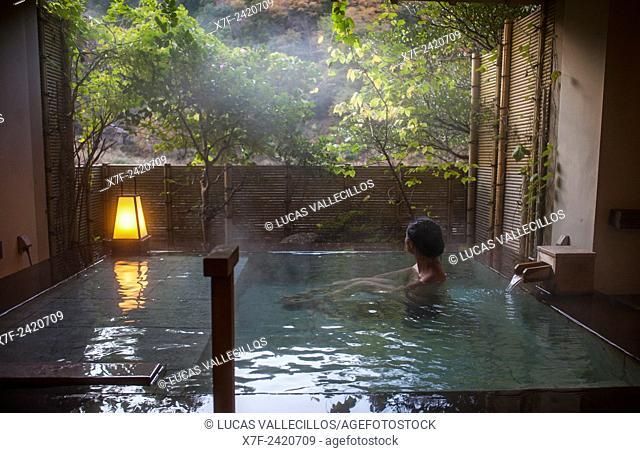 Bath or onsen, in Fujiya Ryokan accommodation, Kawayu Onsen, Kumano Kodo, Nakahechi route, Wakayama, Kinki, Japan
