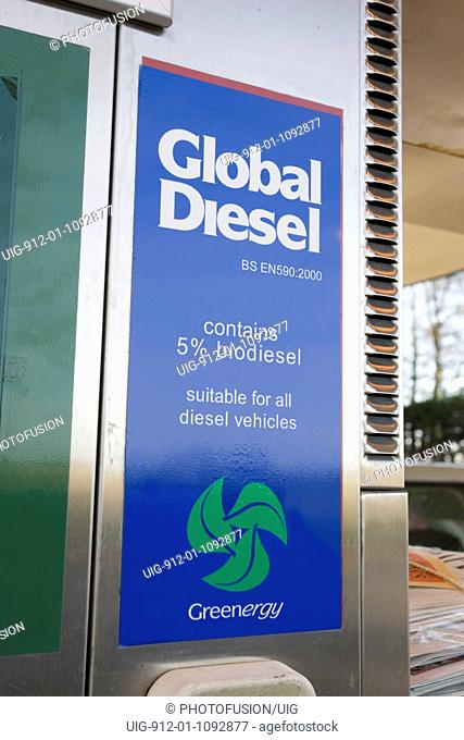 Global diesel containing 5% biodiesel on sale at Murco Green Shop petrol station, Bisley, Gloucestershire UK