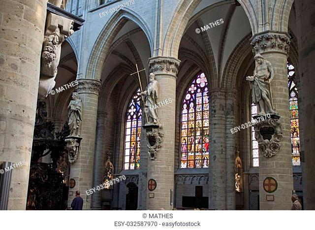 Interior of St. Michael and St. Gudula Cathedral - Brussels, Belgium