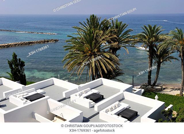 roof terraces of the 'Kyma' suites, Almyra Luxury Spa Hotel, Paphos, Cyprus, Eastern Mediterranean Sea