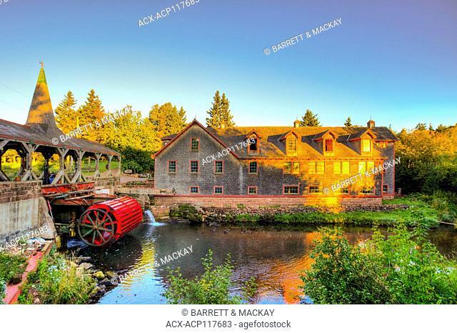 Covered bridge and mill, Hunter River, Prince Edward Island, canada