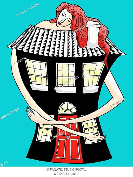 Illustrative image of woman embracing house representing love