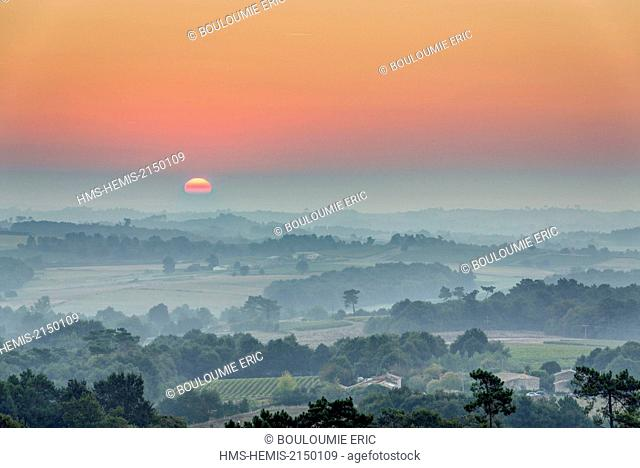 France, Gironde, Saint Palais, Landscape around the village, view from the water tower