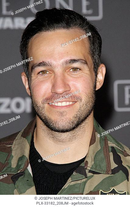 """Pete Wentz at the world premiere of """"""""Rogue One: A Star Wars Story"""""""" held at the Pantages Theatre in Hollywood, CA, December 10, 2016"""