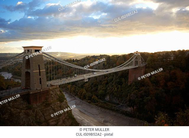 Elevated landscape of Clifton suspension bridge over Avon Gorge at dusk, Bristol, UK