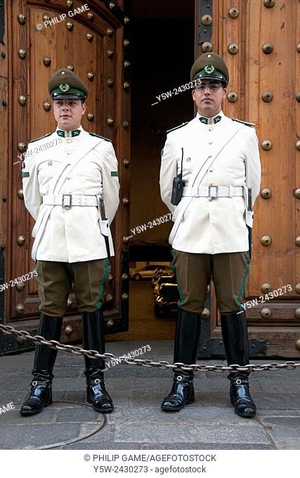 Guards on duty at the Palacio de La Moneda, Santiago de Chile