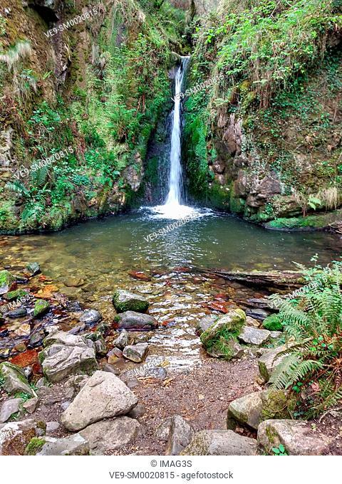 El Chorrón waterfall, Villamayor, Piloña municipality, Asturias, Spain