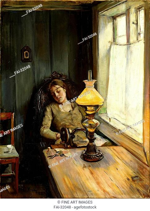 Tired by Krohg, Christian (1852-1925)/Oil on canvas/Realism/1885/Norway/National Museum of Art, Oslo/79,5x61,5/Genre/Painting/Müde von Krohg