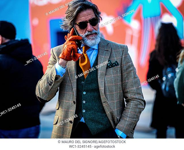 FLORENCE, Italy- January 11 2019: Franco Mazzetti on the street during the Pitti 95