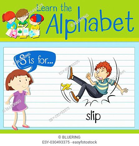 Flashcard letter S is for slip illustration